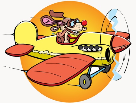 This is cartoon dog - pilot on airplane Illustration