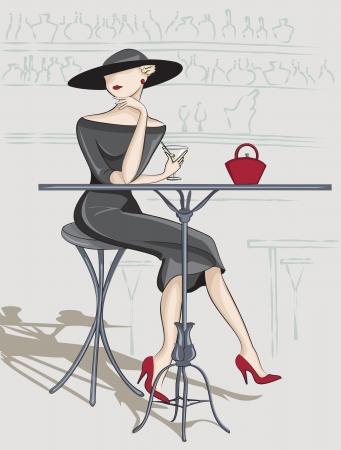 life styles: This is illustration lady in the bar