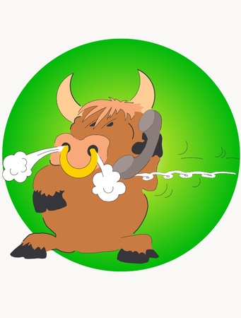 wrathful: This is illustration angry bull with telephone