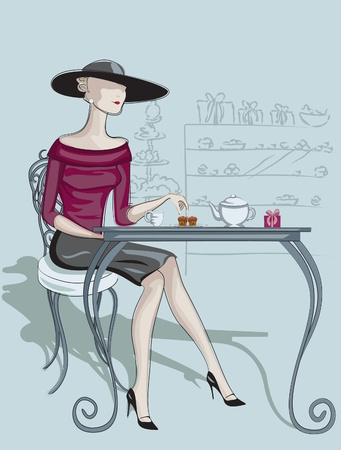 This is illustration lady in the cafe