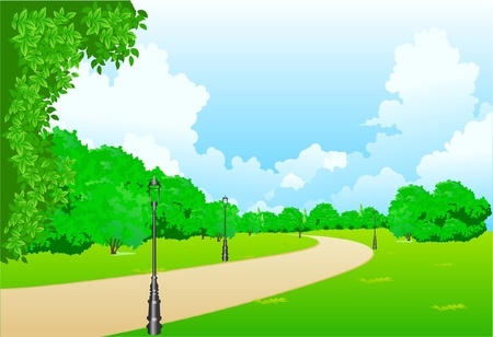 lampposts: Este es el Parque de la ilustraci�n en la ciudad Vectores