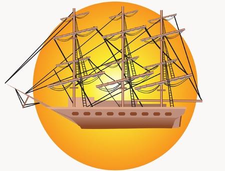 destroyer: This is illustration big three mast yacht
