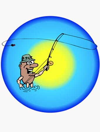 This is cartoon of the fishing man Vector