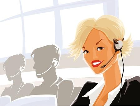 call center woman: Esto es ilustraci�n elegante dama joven - telefonista