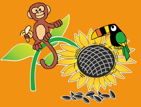 This is monkey and perrot about sunflowers