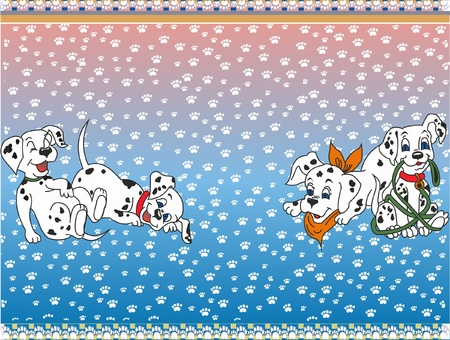 This is illustration four jolly dalmatin dogs