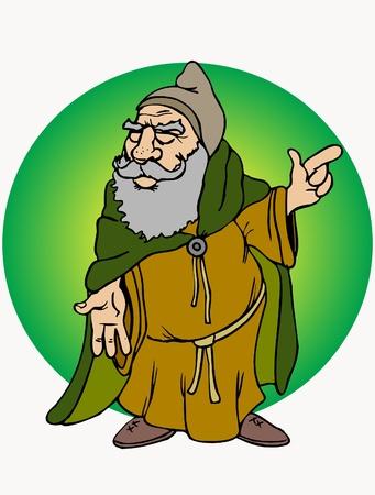 clergy: Esta es la ilustraci�n viejo monje dedo showind Vectores