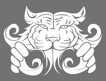 This is illustration modern abstract big tiger Vector