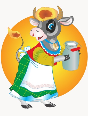 milk pail: This is illustration cow and can with milk