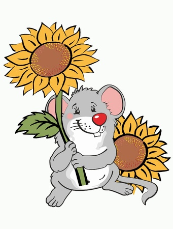 This is illustration jolly mouse about sunflowers Illustration