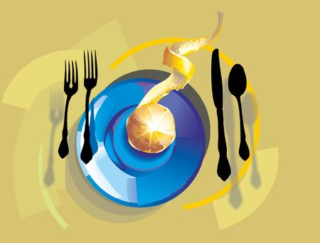 This is illustration orange on the plate Vector