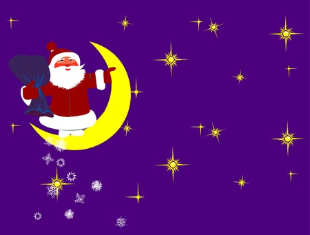 This is illustration Santa Claus and moon