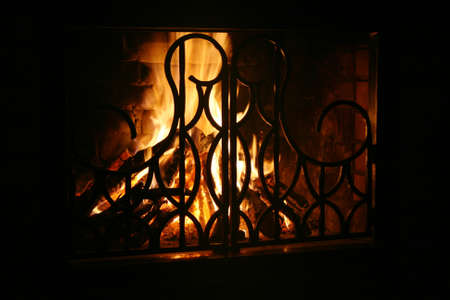 conflagrant: A conflagrant fire is in a fire-place Stock Photo