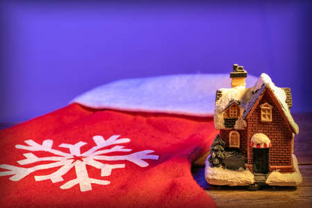 christmas gingerbread house on a red background Stock Photo