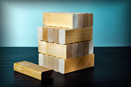 wooden blocks in a stack. concept for growth process of success.