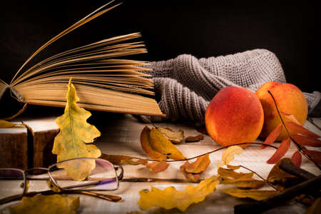 Book, glasses, knitted sweater, fruits and autumn leaves on a wooden table. Autumn still life.