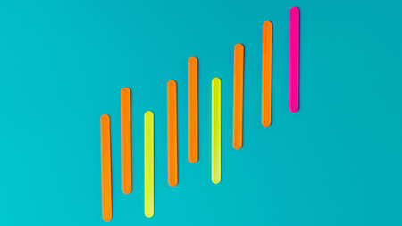 Colored sticks in the form of a graph of profit against the background of the color of sea water.