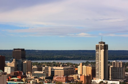 Still Picture of downtown Hamilton, Ontario, Canada and the Lake Ontario on background.  Stock Photo