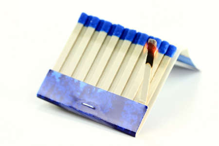 Photo of burning Matchbook (Book of Matches) paper stick over white background.  Stock Photo