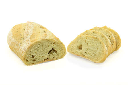Loaf cut on half and sliced Potato and Rosemary Seeds specialty bread isolated on white background