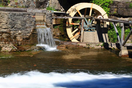 gristmill: Picture of Water Wheel which power up the historical Sawmill and Gristmill and part of Beaverdams Creek Ontario used to turn the wheel