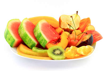 Fruits platter served as healthy breakfast in white porcelain dish  plate  over white background