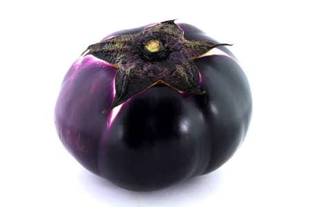 Sicilian spherical shaped purple Organic Eggplant over white background