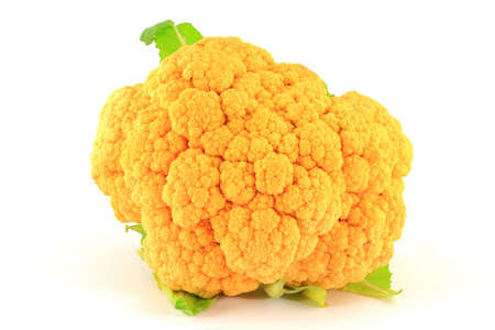 head of cauliflower: Head of Orange Cauliflower with small part of leaves over Isolated white background   Stock Photo