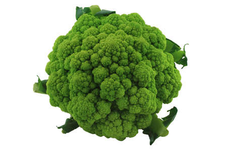 head of cauliflower: Head of Green Cauliflower with small part of leaves over Isolated white background
