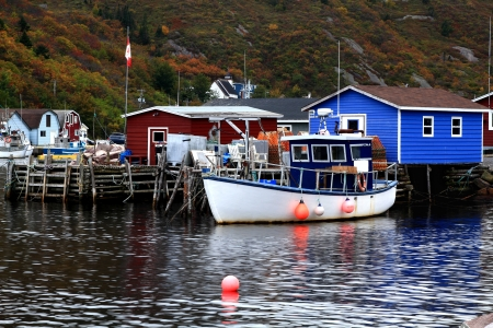 Dock for crab fishing boats, stocked on pile Crab Nets, bungalows for equipment in Petty Harbor, Newfoundland, Canada in fall season   Stock Photo