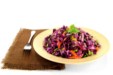 Salad from chopped red cabbage  coleslaw  seasoned with grated carrots, chopped red onion and leaves of celery served in pottery plate over brown fabric napkin over white background