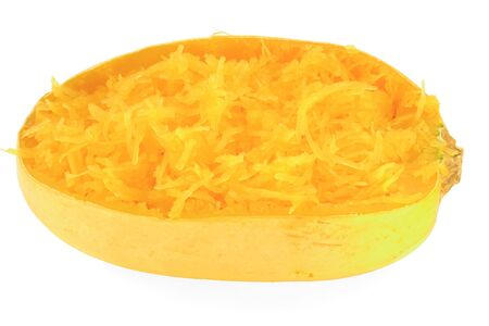 Backed and scooped into the skin Spaghetti Squash isolated