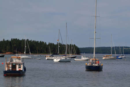 West Marina of Saint Andrews town in Charlotte County New Brunswick situated in Fundy Bay (with highest tides) of  Atlantic Ocean. Saint Andrews is into Passamaquoddy Bay which extending Fundy Bay Stock Photo