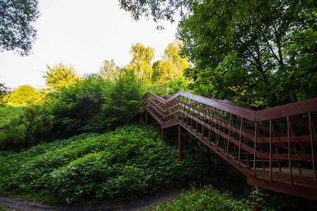 pedestrian bridge: wooden pedestrian bridge