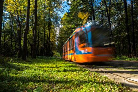 tramway: tramway line along urban park