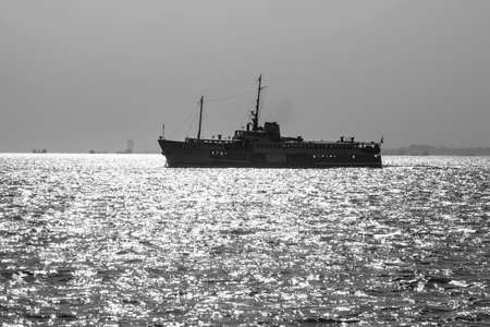 blackandwhite: black-and-white photo of boats in the sea of Marmara in the backlight