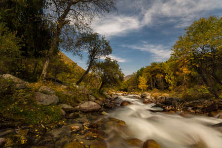 autumn landscape mountain river Stock Photo - 24036606