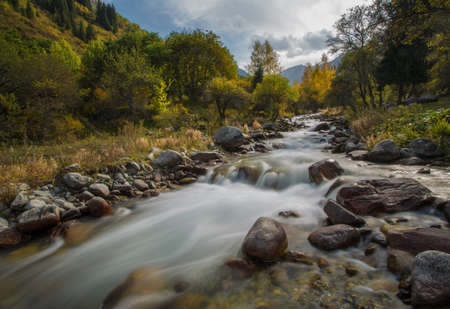 watershed: autumn landscape mountain river