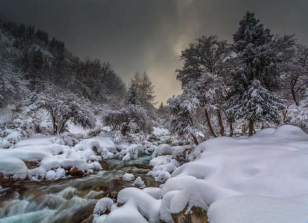 winter landscape of mountain river photo