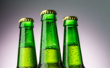 Close up bottles of beer photo