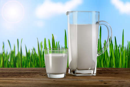 glass and carafe with milk photo