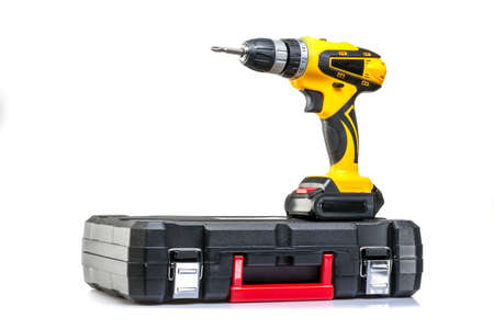screwdriver with a suitcase on a white background Stock Photo
