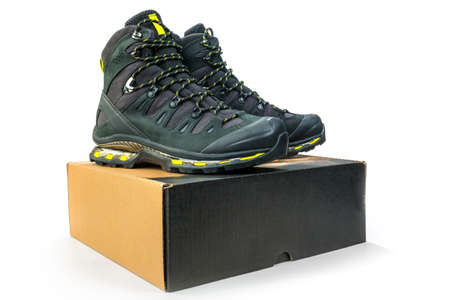 Climbing shoes new in box Stock Photo