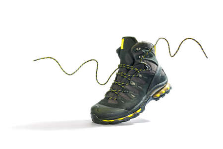 Climbing shoes with laces on a white background Stock Photo