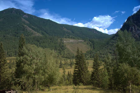 Beautiful valley at the foot of the mountain ranges. Mountain Altai. Siberia. Stock Photo - 107570026