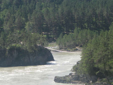 The place of confluence of the mountain rivers Katun and Chemal. Mountain Altai. Siberia.