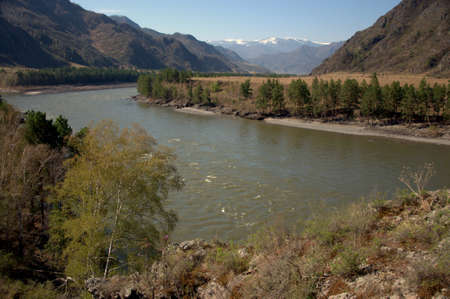 The swift Katun River carries its turquoise waters through the Altai Mountains. Banque d'images - 123416200