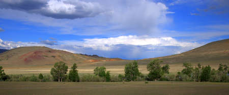 Panoramic shot of red mountains under a blue cloudy sky and sparse bushes at the foot. Altai, Siberia, Russia.