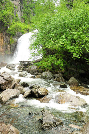 The stormy stream of the mountain river flows down from the cliff into the forest like a majestic waterfall. Korbu waterfall, Altai, Siberia, Russia. Standard-Bild
