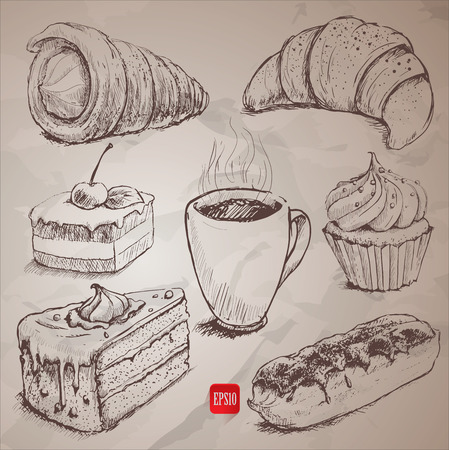 confectionery: confectionery. set of vector sketches